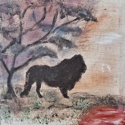 Painting - African Landscape Lion And Banya Tree At Watering Hole With Mountain And Sunset Grasses Shrubs Safar by MendyZ