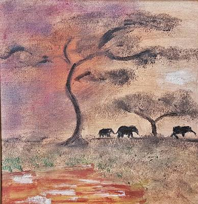 Painting - African Landscape Three Elephants And Banya Tree At Watering Hole With Mountain And Sunset Grasses S by MendyZ