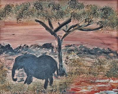 Painting - African Landscape With Elephant And Banya Tree At Watering Hole With Mountain And Sunset Grasses Shr by MendyZ