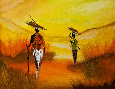 Matte Painting - African Life Style  by Radhika Devaraj