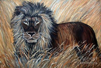 African Lion 2 Art Print by Nick Gustafson