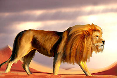 African Lion Original by Levent Sezgin