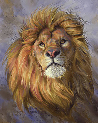 Hand-painted Portraits Painting - African Lion by Lucie Bilodeau