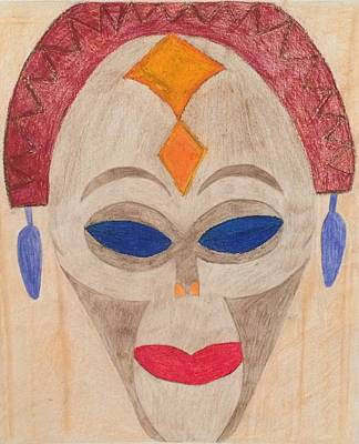 Drawing - African Mask by Samantha L