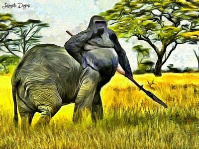 Bulls Painting - African Minotaur by Leonardo Digenio