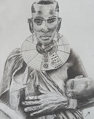 Cabin Interiors Drawing - African Mother by Adekunle Ogunade