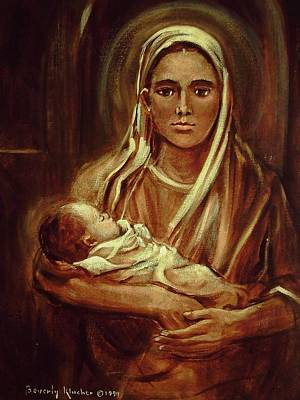 Mid Eastern Woman Painting - Mid-eastern Mother And Child by Beverly Klucher