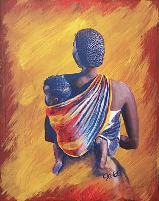 Painting - African Mother And Son by Sean Ivy aka Afro Art Ivy