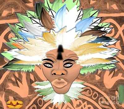 Painting - African Native Indian Chief, Native by Belinda Threeths