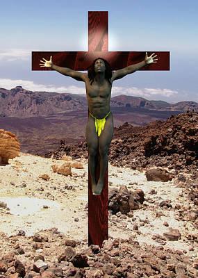 Muscular Digital Art - African Man Crucified by Quim Abella