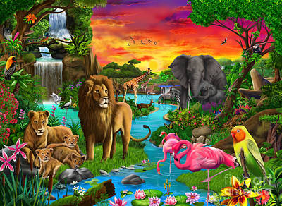 Chimpanzee Digital Art - African Paradise by Gerald Newton