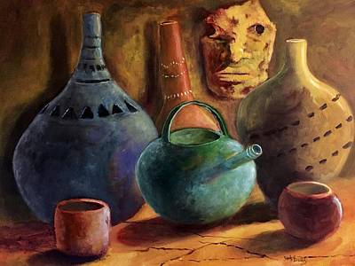 African Pottery And Mask Original by Randy Burns
