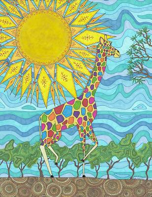 Whimsical Wildlife Drawing - African Rainbow by Pamela Schiermeyer