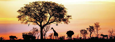 African Safari Silhouette Banner Print by Susan Schmitz