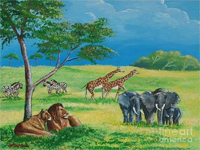 Painting - African Savanna Animals by Jean Pierre Bergoeing