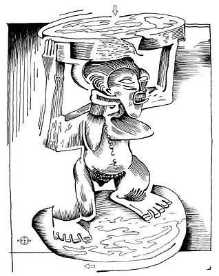 Gary Peterson Drawing - African Stool by Gary Peterson