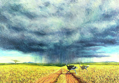 Ostrich Painting - African Storm by Tilly Willis