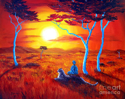 African Sunset Meditation Art Print by Laura Iverson