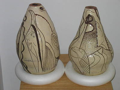 Ceramic Art - African Terracotta Goulds - View One by Gloria Ssali