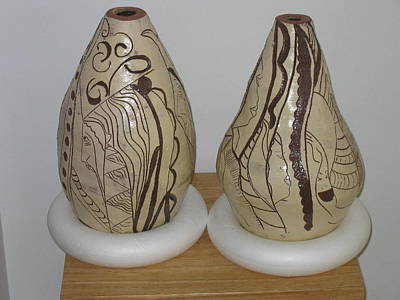 Ceramic Art - African Terracotta Gourds - View Two by Gloria Ssali