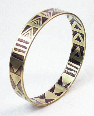 Brass Etched Jewelry - African Tribal Etched Bangle by Vagabond Folk Art - Virginia Vivier