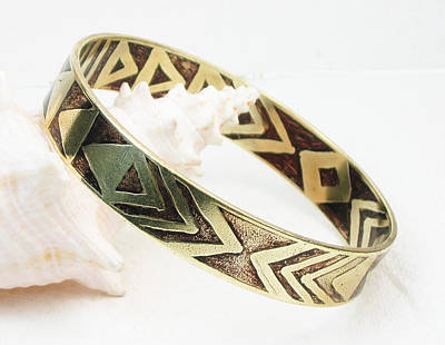 Brass Etched Jewelry - African Tribal Etched Bangle by Virginia Vivier
