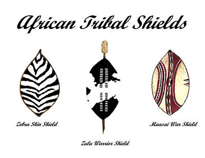 Tribal Art Painting - African Tribal Shields Number 3  by Michael Vigliotti