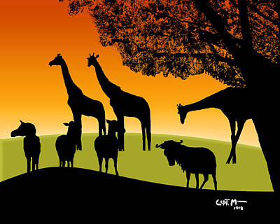 Digital Art - African Veldt At Sunset by Mickey Wright
