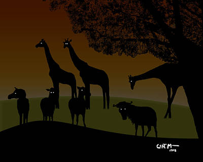 Digital Art - African Veldt At Twilight by Mickey Wright