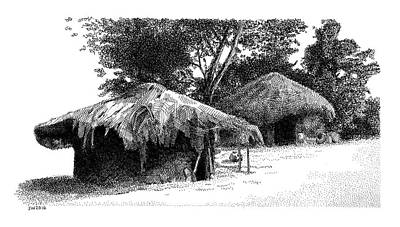 Drawing - African Village Scene by Scott Woyak