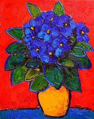 Bouquets Of Pink Flowers Green Blue Painting - African Violet by Ana Maria Edulescu