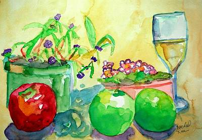 Painting - African Violet Apples And Wine by Rachel Rose