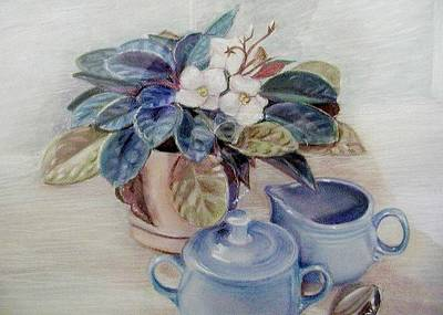 Pastel - African Violet Still Life by Martha Ayotte
