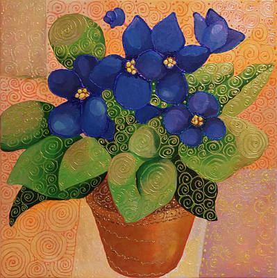 Painting - African Violets by Corey Habbas