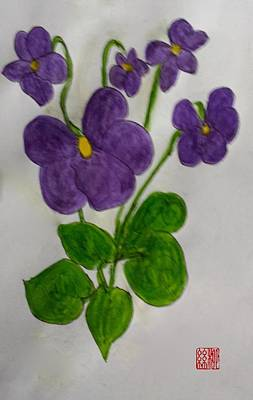 Painting - African Violets by Margaret Welsh Willowsilk