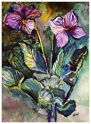 Painting - African Violets by Mindy Newman