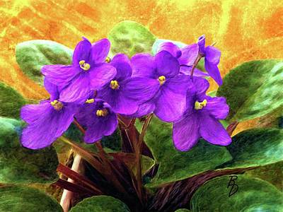 Digital Art - African Violets by Ric Darrell