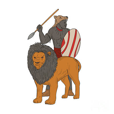 African Warriors Digital Art - African Warrior Spear Hunting With Lion Drawing by Aloysius Patrimonio
