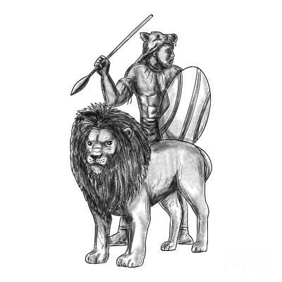 African Warriors Digital Art - African Warrior Spear Lion Tattoo by Aloysius Patrimonio