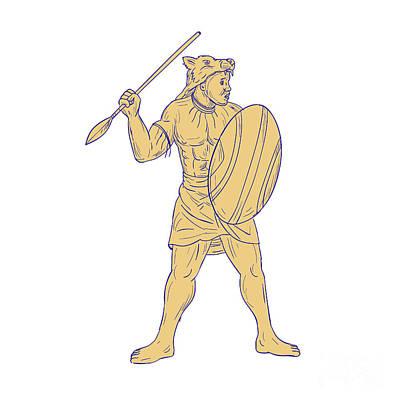 African Warriors Digital Art - African Warrior Wolf Mask Spear Drawing by Aloysius Patrimonio