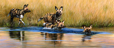 Painting - African Wild Dogs by Jason Morgan
