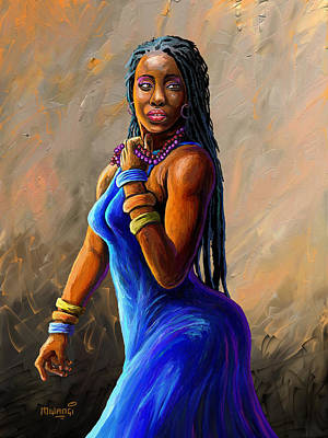 Painting - African Woman by Anthony Mwangi