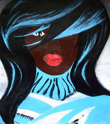 African Woman In Blue Pull Art Print