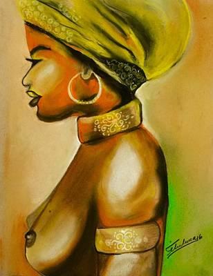 Pastel - African Woman by Thelma Delgado