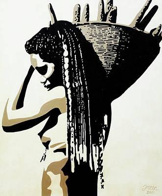 African Woman With Basket Original by Irene Jonker