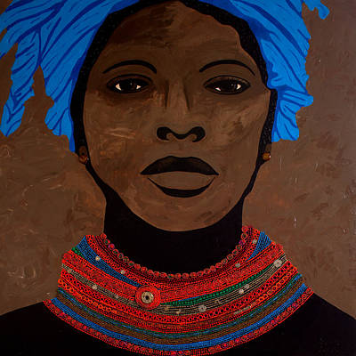 African Art Painting - African Woman With Beads by Irene Jonker