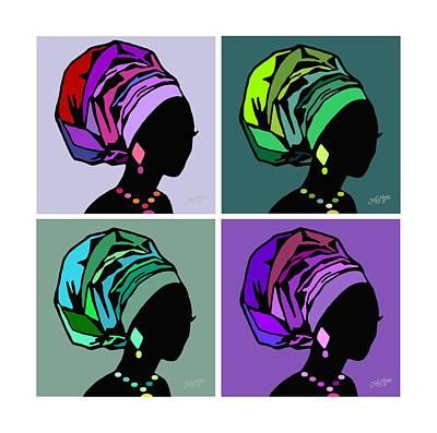 Wrap Digital Art - African Women Head Wrap 3 by James  Mingo