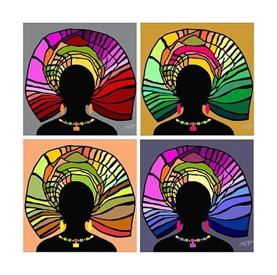 Wrap Digital Art - African Women Head Wrap 34 by James  Mingo