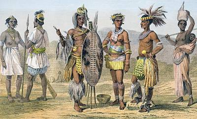 Tribal Women Drawing - Africans In Tribal Costume First Two by Vintage Design Pics