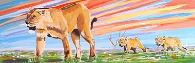 Painting - African Lion And Cubs by Phyllis Kaltenbach